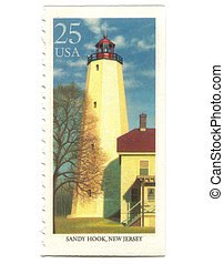 Old postage stamp from USA with Lighthouse