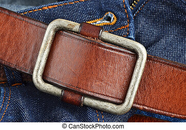Blue jeans with leather belt - Blue jeans with natural...