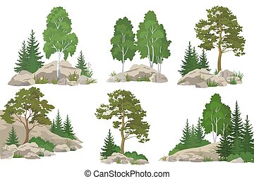 Landscapes with Trees and Rocks - Set Landscapes, Coniferous...