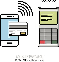 mobile payment concept - minimalistic illustration of a...