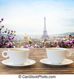 cup of coffee in Paris - two cups of coffee in Paris cafe...