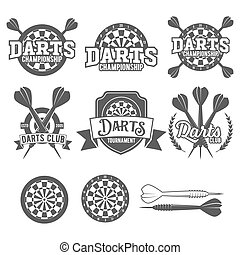 Darts labels set, badge, vector logos - Set of vintage darts...