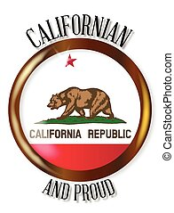 California Proud Flag Button - California state flag button...