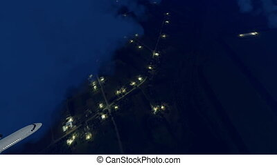 Passenger airplane in night sky - Passenger airplane flying...
