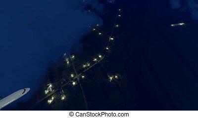 Passenger airplane in night sky 4K