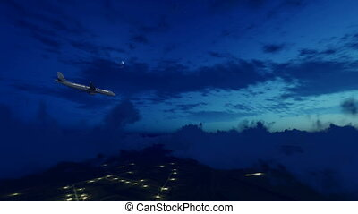 Passenger airliner in night cloudy sky 4K - Passenger...