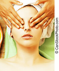 stock photo attractive lady getting spa treatment in salon,...