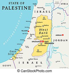 State of Palestine Political Map - State of Palestine with...