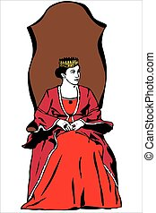 queen wearing a crown - vector image of the queen wearing a...