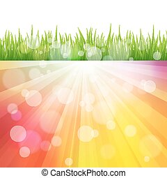 Bright vector color Sun Effect Background with green Grass...