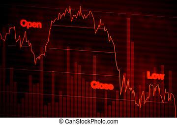 圖表, 紅色, 向下, 落下, 市場, 股票