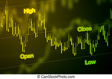 Stock Market Chart in Blue - Stock market chart or graph in...