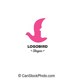 Fun, beauty, isolated, cartoon, geek dove, vector shape, stylish, minimalistic, flat, elegant, silhouette stylized logotype, pink color logo template. Dove, bird, wings, face, tail, duck wings, tail.