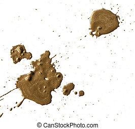 drops of mud sprayed a white background