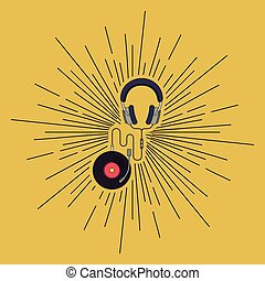 headset with vinil over burst background isolated icon...
