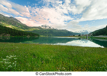 view of a mountain lake in Engadin valley in the summer time...