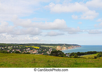 Etretat, France - Panoramic view of village Etretat in Haute...