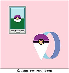 Pokeball icon game on a pink background. A smartphone and a...