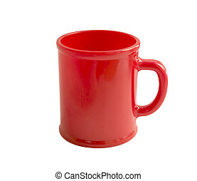 Red cup isolated on white with clipping path