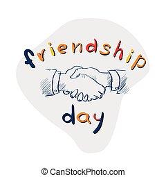 Hands Shaking Sketch Friendship Day