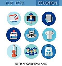 Education Collection Colorful Icon Set Flat Vector...