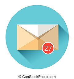 Envelope Email Icon Inbox Message Send Business Mail Flat...