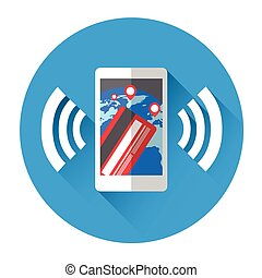 Mobile Payment Cell Smart Phone With Credit Card Icon