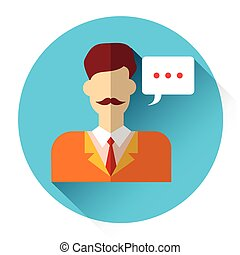 Man Icon Operator Support Chat Flat Vector Illustration