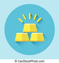 Gold Bricks Colorful Icon Flat Vector Illustration