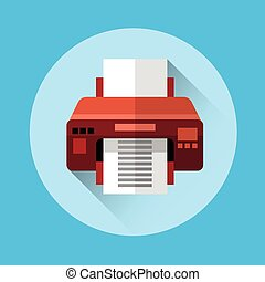 Office Printer Colorful Icon Flat Vector Illustration