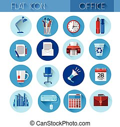 Colorful Office Set Icon Collection