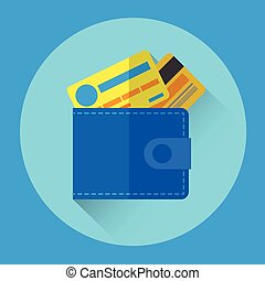 Wallet With Credit Cards Colorful Icon Flat Vector...