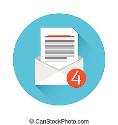 Envelope Open Mail Email Inbox Message Icon Flat Vector...