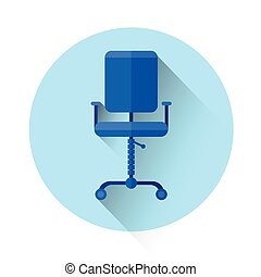 Office Chair Colorful Icon Flat Vector Illustration