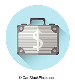 Case With Money Dollar Sign Colorful Icon Flat Vector...