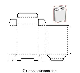Template of a simple Box. Cut out Paper or cardboard -...