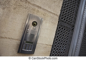 Intercom on a facade - Stylish intercom on the facade of a...