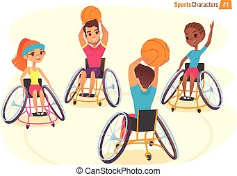 Handisport characters. Boys and girls in wheelchairs playing...