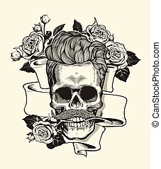 Hipster skull silhouette with mustache and arose in teeth...
