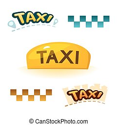 Taxi sign, vector illustration - The yellow illuminated taxi...
