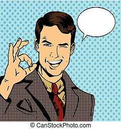Man smile and shows OK hand sign with speech bubble. Vector...