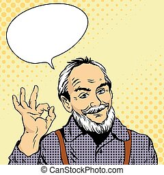 Old man shows OK hand sign. Vector illustration in retro...