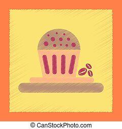 flat shading style icon coffee cake - flat shading style...