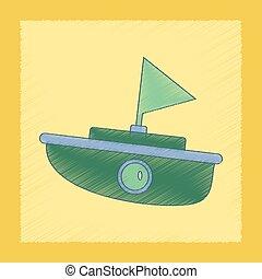 flat shading style icon Kids boat