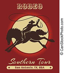 Rodeo Cowboy Poster - American Texas cowboy rodeo poster...