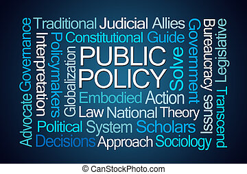 Public Policy Word Cloud on Blue Background