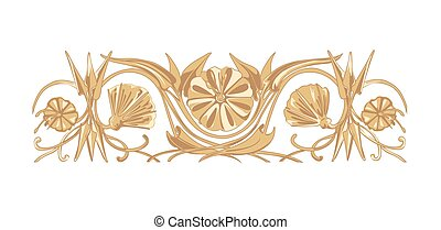 Mesapotamia floral ornament - Vector flower ornament in...