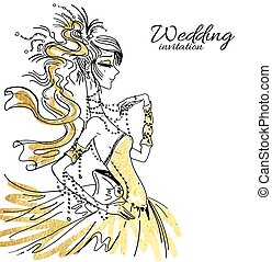 Wedding invitation with bride - Vector wedding invitation...