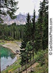 Carezza lake on the Dolomites