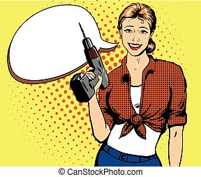 Woman with drill vector illustration in retro comic pop art style. Girl and hardware power tools.
